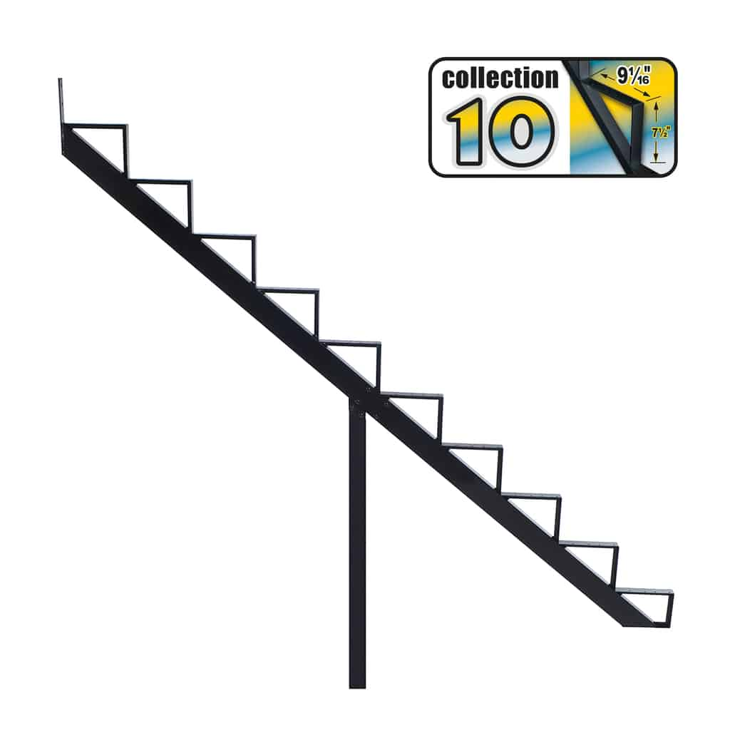 Aluminium Stair Riser 10 steps black – COLLECTION 10 (9 1/16″)